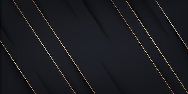 Abstrakcyjne czarne tło papieru ze złotymi paskami