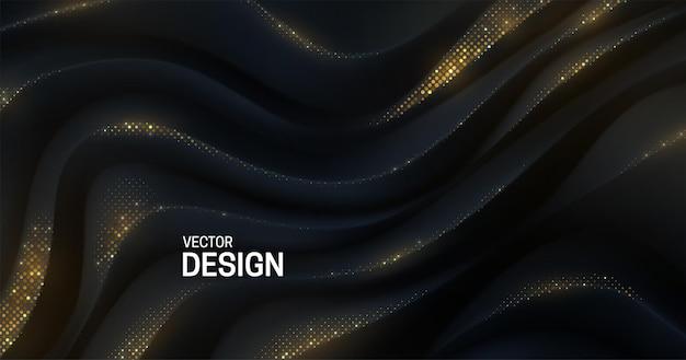 Abstrakcyjne eleganckie tło z czarną zakrzywioną powierzchnią wzoru 3d ze złotymi błyskami