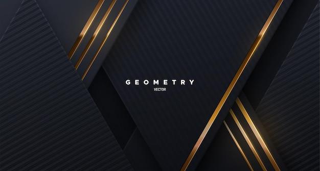 Abstrakcyjne eleganckie tło ze skośnymi czarnymi kształtami i złotymi świecącymi sznurkami