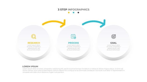 Abstrakcyjne elementy projektu infografiki z ikonami marketingowymi i strzałkami koncepcja biznesowa z 3 opcjami
