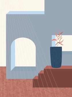 Abstrakcyjne geometryczne kształty architektoniczne schody łukowe elementy botaniczne styl minimalistyczny