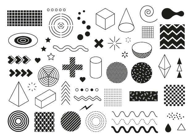 Abstrakcyjne geometryczne kształty nowoczesne minimalne elementy graficzne fala trójkąt linia półokrągły sześcian