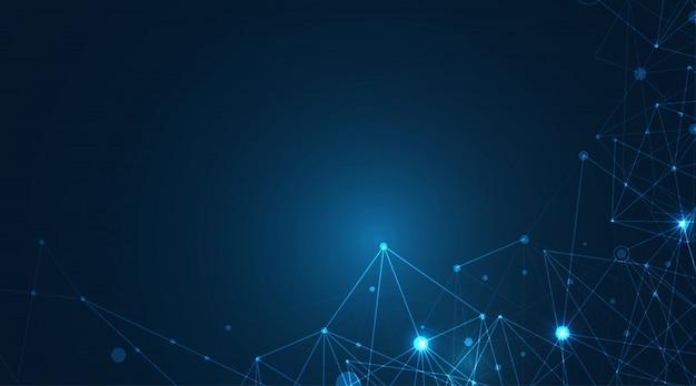 Abstrakcyjne geometryczne kształty splotu niebieskiego. koncepcja połączenia i sieci. tło sieci cyfrowej, komunikacji i technologii z ruchomymi liniami i kropkami. ilustracja.