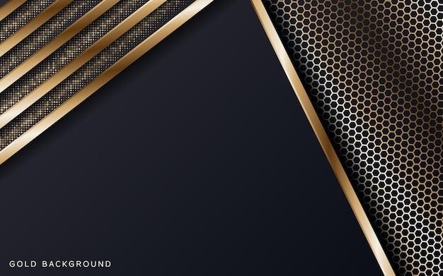 Abstrakcyjne geometryczne nakładanie się ze złotymi kombinacjami brokatowych kropek luksusowy i elegancki design