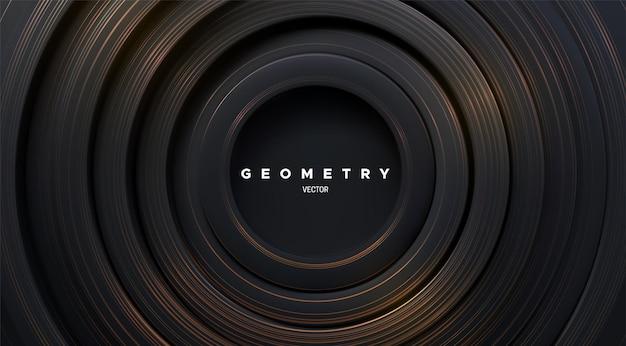 Abstrakcyjne geometryczne tło z czarnymi koncentrycznymi kształtami i złotym wzorem w paski