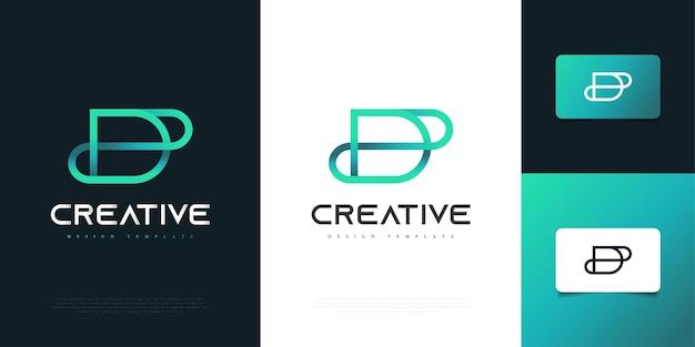 Abstrakcyjne i minimalistyczne projektowanie logo litera d w niebieskim gradientem w stylu linii. graficzny symbol alfabetu dla tożsamości biznesowej