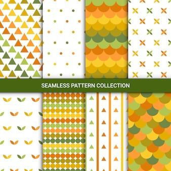 Abstrakcyjne jesienne wzory w kolorze zielonym, żółtym, białym i pomarańczowym