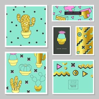 Abstrakcyjne karty z teksturą złoty brokat i kaktusem. plakat projekt okładki broszury biznesowej zestaw z elementami geometrycznymi.