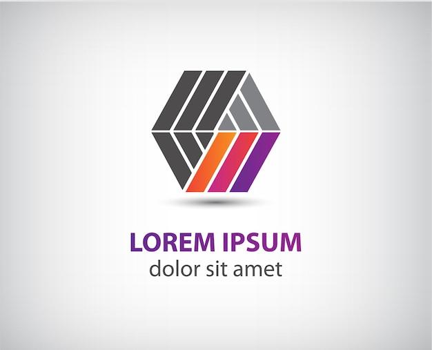 Abstrakcyjne kolorowe geometryczne logo budowlane dla firmy, tożsamość
