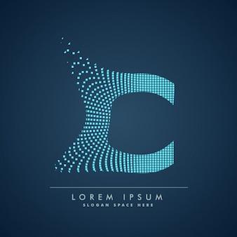Abstrakcyjne kreatywne kropki logo litera c