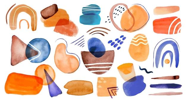 Abstrakcyjne kształty akwareli kolorowe plamy plamy pociągnięcia pędzlem wzory. nowoczesne minimalistyczne elementy