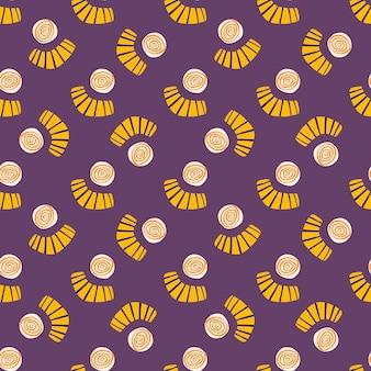 Abstrakcyjne kształty bezszwowe doodle wzór. jasny design z żółtymi kółkami i bazgrołami na fioletowym tle.