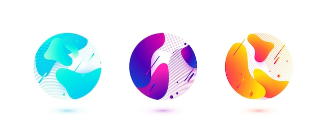 Abstrakcyjne kształty cieczy koło. fale gradientu z geometrycznymi liniami, kropki wpisane w okrągłą formę. ilustracja projektu elementu.