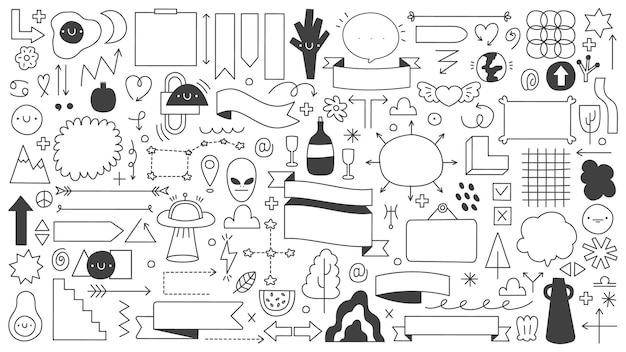 Abstrakcyjne kształty doodle na białym tle