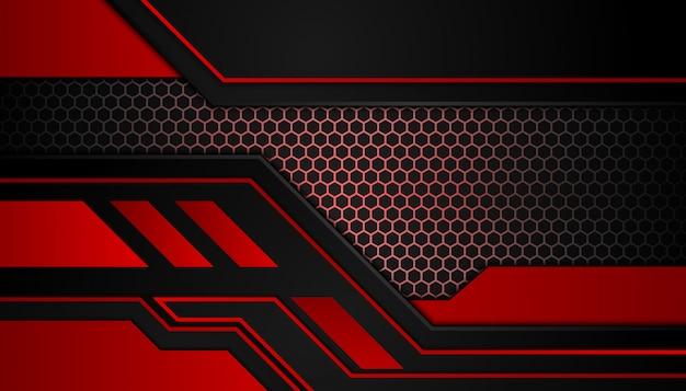 Abstrakcyjne kształty geometryczne czerwone światło na ciemnym tle sportu