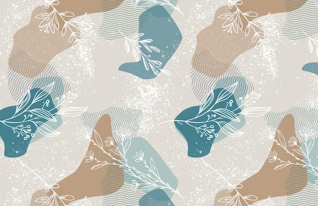 Abstrakcyjne kształty i kwiatowy wzór