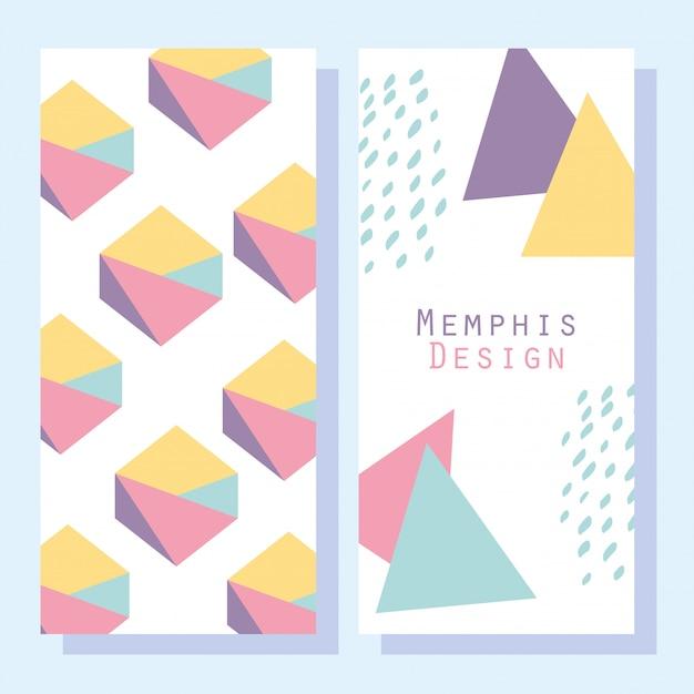 Abstrakcyjne kształty, okładki geometryczne w stylu memphis lub banery
