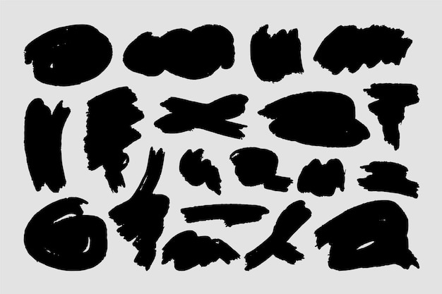 Abstrakcyjne kształty pociągnięć pędzlem tuszem