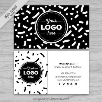Abstrakcyjne kształty w czerni i bieli wizytówki
