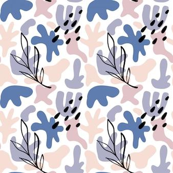 Abstrakcyjne kształty z liśćmi w tle