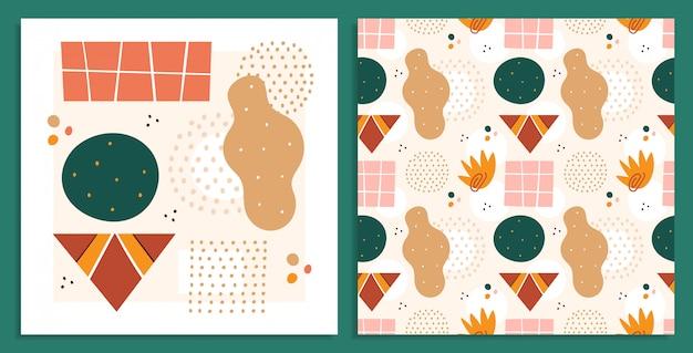 Abstrakcyjne kształty, zestaw ilustracji ilustracje. koła i prostokąty, kolekcja rysunków kolorowych trójkątów doodle. abstrakcja, ręcznie rysowane bezszwowe wzór geometryczne kształty na białym tle