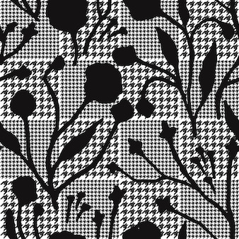 Abstrakcyjne kwiaty z hound-zęby kratę wzoru.