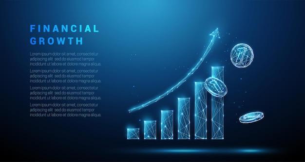 Abstrakcyjne latające monety i wykres dorastania koncepcja strategii biznesowej w stylu low poly