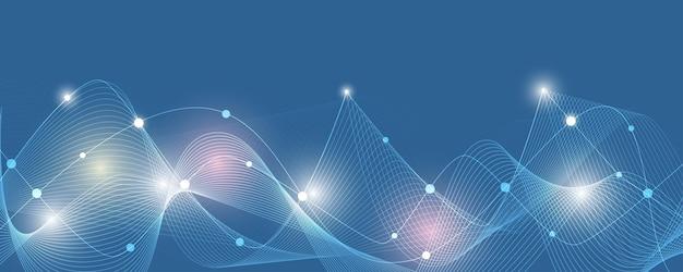 Abstrakcyjne linie i kropki łączą tło technologia połączenia danych cyfrowych i koncepcji big data