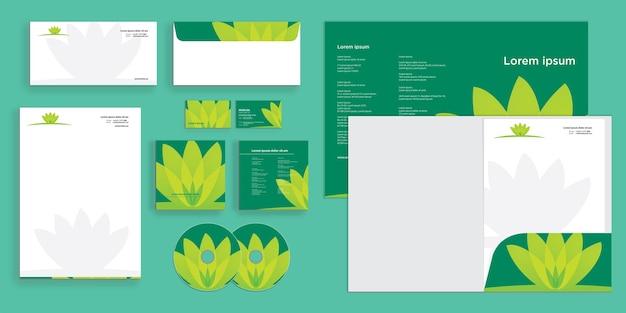 Abstrakcyjne liście kwiaty logo natura nowoczesna firma tożsamość biznesowa stacjonarne
