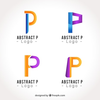 Abstrakcyjne litera p kolekcja logo