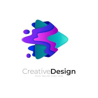 Abstrakcyjne logo gry i kolorowy szablon projektu