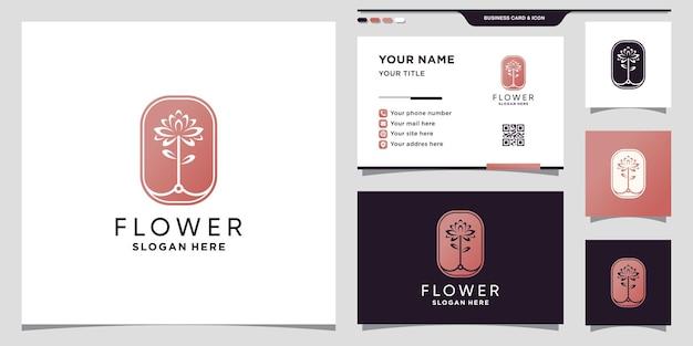 Abstrakcyjne logo kwiatowe z koncepcją negatywnej przestrzeni i projektem wizytówek premium wektor