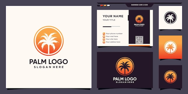 Abstrakcyjne logo palmy z koncepcją negatywnej przestrzeni okrągłej i projektem wizytówek premium wektorów