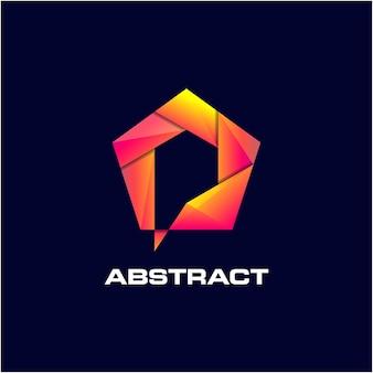 Abstrakcyjne logo pentagonu niesamowite gradient