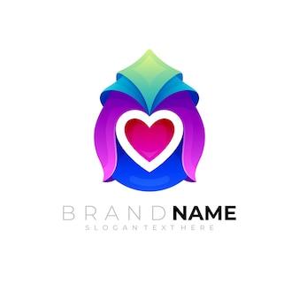 Abstrakcyjne logo upuszczania i projekt miłości