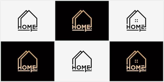 Abstrakcyjne logo wektorowe łączące logo domu i czcionki logo firmy zajmującej się nieruchomościami w domu