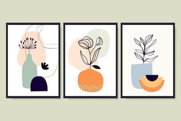 Abstrakcyjne minimalistyczne tła, plakaty z różnymi liśćmi w wazonie. współczesny nowoczesny design, doodle kształty