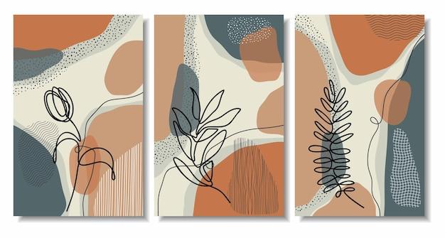 Abstrakcyjne minimalne kształty i liść grafiki liniowej
