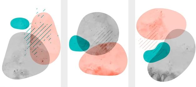 Abstrakcyjne, minimalne, ręcznie rysowane płynne kształty akwarelowe