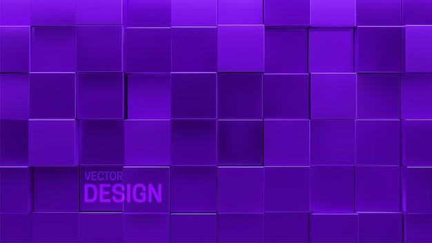Abstrakcyjne minimalne tło 3d z losowymi fioletowymi kwadratowymi kształtami mozaiki