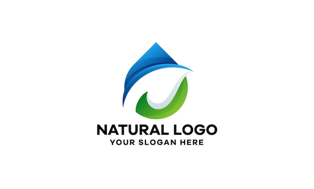 Abstrakcyjne naturalne logo gradient logo szablon