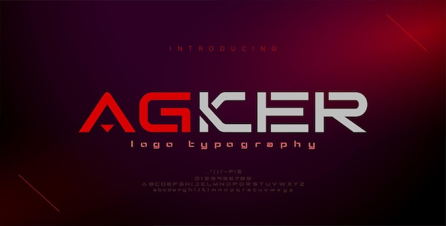 Abstrakcyjne nowoczesne czcionki alfabetu miejskiego typografia sport gra technologia przyszłość cyfrowa czcionka logo