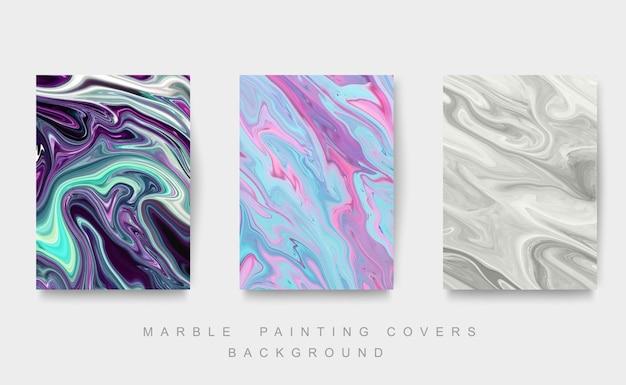 Abstrakcyjne okładki do malowania płynnym tuszem. mix kolorów tekstury marmuru.