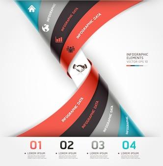 Abstrakcyjne opcje infografiki spiralnej można wykorzystać do układu przepływu pracy, schematu, opcji liczbowych, projektowania stron internetowych.