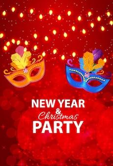 Abstrakcyjne piękno wesołych świąt i nowego roku party tło z masquerade carnival mask