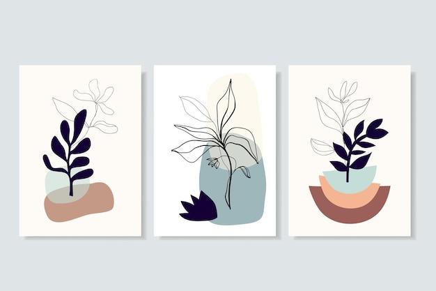 Abstrakcyjne plakaty, dekoracje ścienne, ilustracje liniowe, kwiaty, nowoczesny minimalistyczny współczesny design