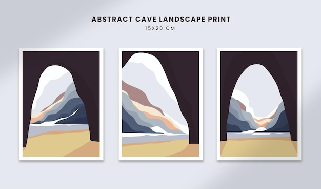 Abstrakcyjne plakaty krajobrazowe sztuka ręcznie rysowane kształty okładki z perspektywą jaskini