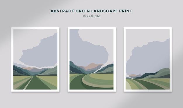 Abstrakcyjne plakaty krajobrazowe sztuka ręcznie rysowane kształty okładki z piękną scenerią