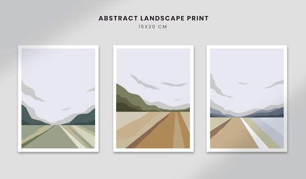 Abstrakcyjne plakaty krajobrazowe sztuka ręcznie rysowane kształty okładki z piękną uliczną scenerią