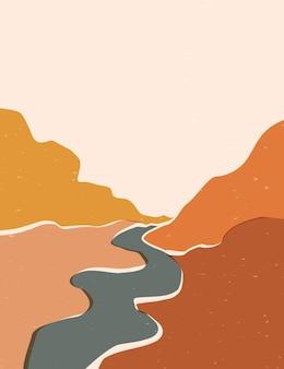 Abstrakcyjne plakaty przedstawiające przyrodę - góry i rzekę.